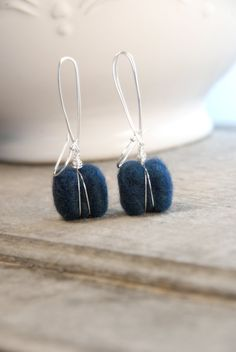 Merino Wool, Wet Felted, Wire Wrapped, Navy, Earrings on Etsy, $23.72