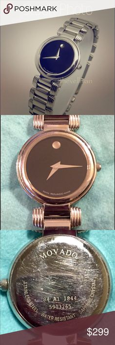🔥STEAL OF THE DAY🔥Movado SS Serenade Black Face Movado Ladies Stainless Steel Serenade - Black Face 84 A1 1844  A timeless classic!  Shows signs of wear/scratches on bracelet.  Could be cleaned up nicely by a jeweler.  Needs battery. -Quartz Battery Swiss Movement -Sapphire Crystal -Stainless Steel Case & Bezel -Water Resistant -Black Museum Dial -25mm Movado Accessories Watches