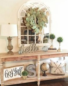 Gorgeous farmhouse entryway idea - easy DIY entryway decorating ideas for a smal. Gorgeous farmhouse entryway idea – easy DIY entryway decorating ideas for a small foyer or apartm Home Living Room, Living Room Designs, Living Room Decor, Farmhouse Side Table, Farmhouse Decor, Modern Farmhouse, Country Farmhouse, Farmhouse Living Rooms, Farmhouse Style Decorating