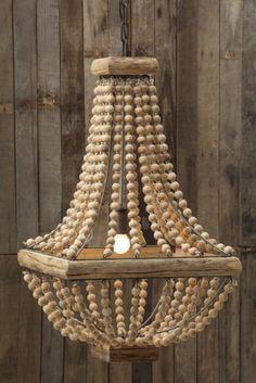 """Rustic Square Base Wooden Beaded Chandelier. Rustic yet elegant wooden chandelier, 16-1/2"""" Square x 28""""H Metal Chandelier w/ Wood Beads (40 Watt Bulb Maximum) – Urban Poppy"""