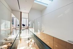 Interior design for a two bedroom duplex in Tribeca, New York City USA, currently for sale Estilo Interior, Modern Interior, Interior Architecture, Glass Building, Building Design, New York Condos, Glass Walkway, Duplex Apartment, Interior Design