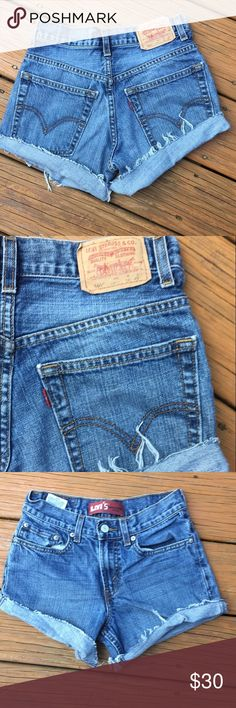 High waisted Levi cutoffs High waisted vintage Levi cutoffs in medium wash. Will add rips if requested Levi's Shorts Jean Shorts