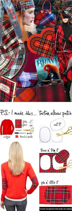 To create: Use a marker, draw and cut a pattern for your elbow patch. You could use a template or for a fun shape try a cookie cutter. Next, trace and trim the pattern on your tartan fabric. Pin the patches to the sweater at the elbows with straight pins and stitch with needle and thread. Create a temporary look or double-up on the thread to securely attach them.