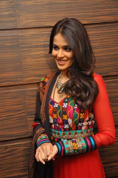 Genelia D'Souza wearing Kutch Work Anarkali Chudidar
