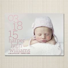 custom baby photo birth announcement boy or girl by westwillow