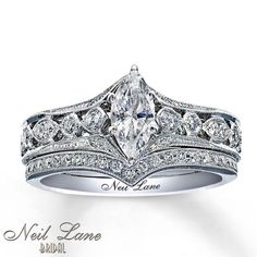 Neil Lane 0.75 ctw Marquise Diamond 14K White Gold Engagement & Wedding Ring Set in Jewelry & Watches, Engagement & Wedding, Engagement Rings | eBay