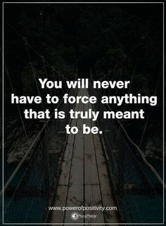 Quotes You will never have to force anything that is truly meant to be.