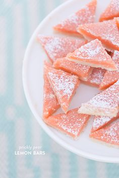 When we spotted these prickly pear lemon bars in our latest Southwest Inspired Shower, we just knew we needed to hunt down the recipe. Not only do they sound de Fruit Recipes, Dessert Recipes, Cooking Recipes, Recipies, Jelly Recipes, Gf Recipes, Just Desserts, Delicious Desserts, Yummy Food