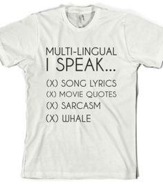 Multi Lingual-Unisex White T-Shirt
