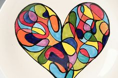 Retro Mod Heart Plate Hand Painted Color Block by owlcreekceramics