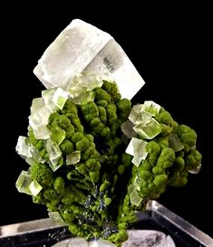 Calcite, Mottramite - Namibia Minerals And Gemstones, Crystals Minerals, Rocks And Minerals, Stones And Crystals, Crystal Aesthetic, Mineral Stone, Rocks And Gems, Natural Crystals, Geology