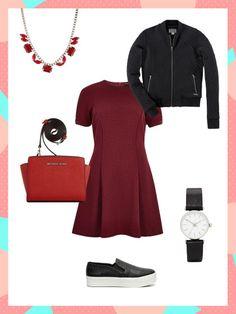What to wear to work: Dieser Business-Look ist durch das Kleid elegant, kann aber mit Bomberjacke und Sneakern zum sportlichen Outfit umgewandelt werden.