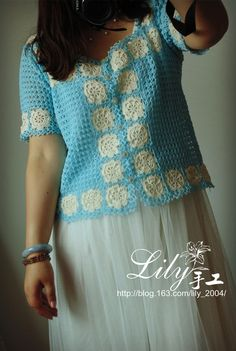 [Manual] --1523-- nomeolvides Lily - Código Mundial parquet pequeña rebeca fresca - Lily - mundo tejido a mano de Lily