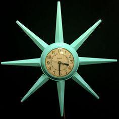 Vintage 50s 60s United Mid Century Modern Aqua Starburst Sunburst Wall Clock