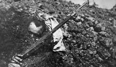 German dead soldier in Verdun, with Gewehr 98 rifle and German field pack