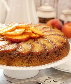 Fresh Peach and Bourbon Upside Down Cake #peach #SummerSoiree #FoodNetwork #cake #summerrecipes