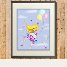 Up, up and away - girl flying with balloons printable wall art.  So cute for a little girl's room.