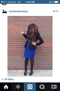 Cobalt dress with black tights and black blazer modest winter fashion