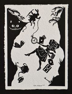 ALICE IN WONDERLAND Papercut - Down the Rabbit Hole - Hand-Cut Silhouette…