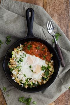 A simple summer egg skillet with zucchini and sweet corn