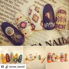 with ・・・ sha-nail Pro Design ・native pattern Gorgeous Nails, Love Nails, Pretty Nails, Fun Nails, Indian Nail Art, Indian Nails, Western Nails, Japan Nail Art, Country Nails