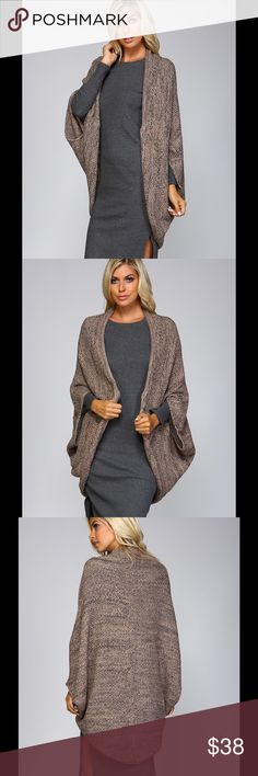 """Round edge cardigan Knit crochet open cardigan. Round bowl shape construction. Two tone yarn and fold over edging detail. 75% acrylic. 25% mohair. Color taupe. Model shown is 5'10"""" in a small. Sweaters Cardigans"""