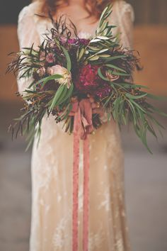 autumn bouquet - photo by Christina Block Photography http://ruffledblog.com/industrial-romantic-fall-wedding-inspiration