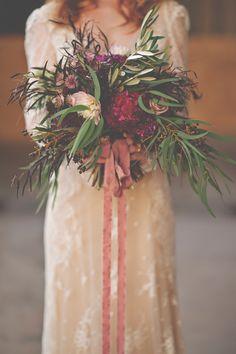 autumn bouquet - photo by Christina Block Photography http://ruffledblog.com/industrial-romantic-fall-wedding-inspiration