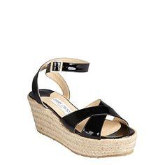 #JimmyChoo Women's Black Patent Leather Criss Cross 'Pepper' Espadrille Sandals US 9 (EUR 39)