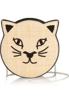 Pussycat embroidered raffia and leather shoulder bag #shoulderbag #women #covetme #charlotteolympia