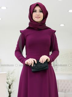 bc9847e747c Purple - Fully Lined - Crew neck - Muslim Evening Dress