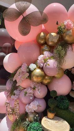 Baby Girl Birthday Theme, Girl Birthday Decorations, Baby Girl Shower Themes, Girl Baby Shower Decorations, Balloon Decorations, Girls Birthday Party Themes, Butterfly Birthday Party, Balloons, Quinceanera