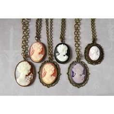 Woman Cameo Necklace Victorian Lady Cameo Pendant Purple Cameo Peach... ($29) ❤ liked on Polyvore featuring jewelry and pendants