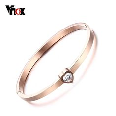 Vnox Simple Lady Crystal Heart Open Cuff Bracelet for Woman Rose Gold Plated Bangle & Bracelets Fashion Jewelry Holiday Party