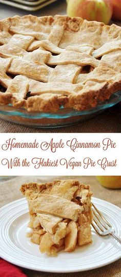 Homemade Apple Cinnamon Pie with a Flaky Vegan Pie Crust! Make this delicious apple pie recipe and your family will be begging you to make it again, and again. www.veganosity.com