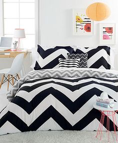 Chevron Black 4 Piece Twin Comforter Set