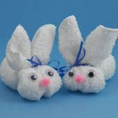 Craft project: What could be more fun than making a cute little bunny for Easter?   Start with a washcloth and in no time you'll have a little sweetie to  add to an Easter basket, give as a gift or   as a decoration that doubles as an Easter egg holder!
