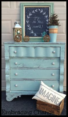 A Rustic Empire Dresser finished in Duck Egg Blue Chalk Paint® decorative paint by Annie Sloan Chalk Paint Projects, Chalk Paint Furniture, Furniture Projects, Furniture Makeover, Diy Furniture, Distressed Furniture, Repurposed Furniture, Shabby Chic Furniture, Duck Egg Blue Chalk Paint