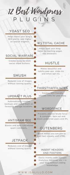 An infographic for the 12 best WordPress plugins for beginners and not. Wordpress For Beginners, Blogging For Beginners, Wordpress Website Design, Wordpress Website Development, Branding Website, Web Development, Web Design, Media Design, Social Share Buttons