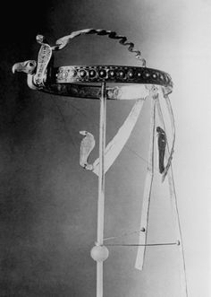 This headdress was among the findings in the Cairo, Egypt excavations of the tomb of King Tutankhamen, 1920s.