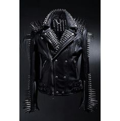 HANDMADE men's full black punk silver long spiked studded leather buttons up jacket silver studs and spikes black leather made to order - Marlene Valencia Spiked Leather Jacket, Studded Jacket, Biker Leather, Leather Men, Black Leather, Leather Jackets, Cowhide Leather, Custom Leather, Real Leather