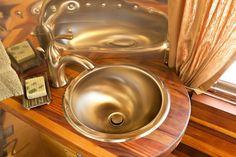 Close-up of bathroom sink in vintage Airstream