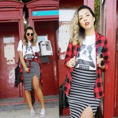 T-shirt com Camisa Xadrez   Saia Midi – Look!