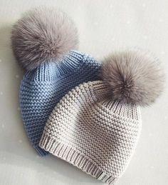 Pompon-bere-ornegi – New Ideas - Knitting and Crochet Diy Crafts Knitting, Knitting For Kids, Loom Knitting, Free Knitting, Knitting Projects, Baby Hat Patterns, Baby Knitting Patterns, Crochet Patterns, Crochet Baby