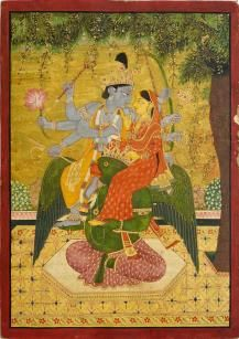 Kangra School, c.1880, an Indian miniature painting depicting Vishnu with Lakshmi seated on Garuda, opaque watercolour on paper, 40.6x29.5cm - Price Estimate: £2500 - £3500