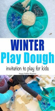 Winter Play Dough Invitation To Play - HAPPY TODDLER PLAYTIME This winter play dough invitation to play is a fantastic indoor activity for toddlers and preschoolers. Let your little one create a wintry outdoor scene, make a snowman or decorate a mitten! Indoor Activities For Toddlers, Winter Activities For Kids, Infant Activities, Motor Activities, Creative Activities, Family Activities, Outdoor Activities, Play Dough Sets, Play Doh