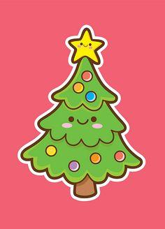 Kawaii christmas tree #Kawaii #Draw #Illustration