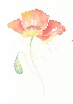Flower, flower print, Watercolor, fine art giclee print, giclee art, watercolor giclee, Poppy, Original watercolor print 6x8