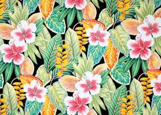 Welina - Barkcloth Hawaii Fabrics - Vintage Style Hawaiian Fabrics. Tropical Hawaiian stylized hibiscus, heliconia, and multi-colored leaves. a cotton apparel fabric.