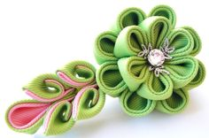Kanzashi fabric flower hair clip Apple green and pink.